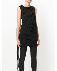 Rick Owens Drkshdw - Black Long Tie Up Tank Top - Lyst