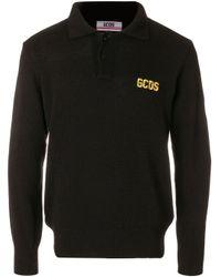 Gcds Black Embroidered Logo Polo Shirt for men