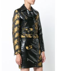 Moschino - Black Floral Two Tone Cropped Biker Jacket - Lyst