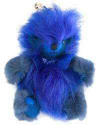 Burberry | Blue Fuzzy Teddy Bear Keyring | Lyst