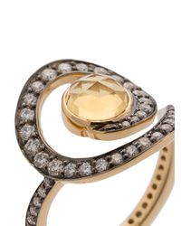 Noor Fares - Metallic Anello Decorato Con Diamanti - Lyst