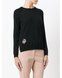 Etro - Black Embroidered Flower Jumper - Lyst