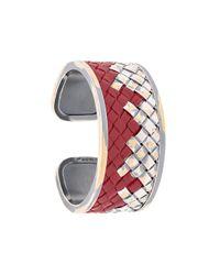 Bottega Veneta - Red Woven Cuff Bracelet - Lyst