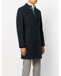 MSGM - Blue Contrast Button Coat for Men - Lyst