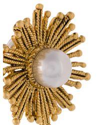 Oscar de la Renta - White Pearl Sun Earrings - Lyst