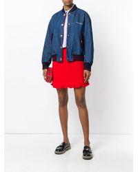 Miu Miu Blue Varsity Denim Bomber Jacket