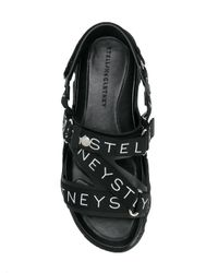 Stella McCartney Black Logo Printed Strap Sandals for men