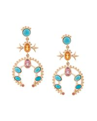 Marlo Laz - Multicolor 14kt Gold Squash Blossom Orange Sapphire Small Hoop Earrings - Lyst