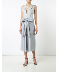 TOME - White 'thin Stripe Bow Front' Dress - Lyst
