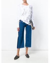 Lareida White Fringe Embellished Shirt