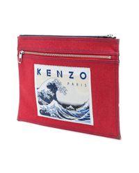 KENZO - Blue Double Zip Clutch for Men - Lyst