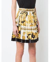 Versace Yellow Pleated Barocco Print Skirt