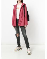 Save The Duck - Pink Zip Up Raincoat - Lyst