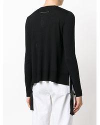 MM6 by Maison Martin Margiela - Black Curved Hem Knitted Jumper - Lyst