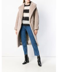 Max Mara - Natural Oversized Double Breasted Coat - Lyst