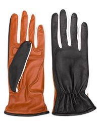 Sportmax - Black Two-faced Leather Gloves - Lyst