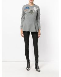 Alexander McQueen - Gray Embroidered Sweatshirt Top - Lyst