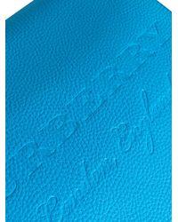 Burberry - Blue Large Logo Embossed Messenger Bag for Men - Lyst