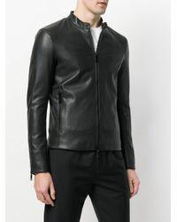 Emporio Armani - Black Leather Racer Jacket for Men - Lyst
