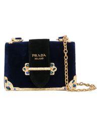 7630f9d087ec Prada Cahier Velvet Shoulder Bag in Blue - Lyst