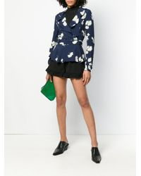 Ganni - Blue Floral Ruffle Front Blouse - Lyst