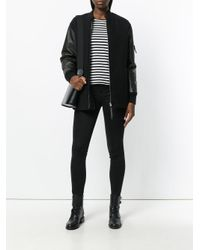 T By Alexander Wang | Black Knitted Bomber Jacket | Lyst