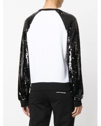 Karl Lagerfeld - White Sequin Sleeve Logo Sweatshirt - Lyst