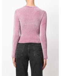 Alexander Wang | Pink 'vinyl Meltdown' Jacquard Cropped Chenille Sweater | Lyst