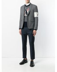 Thom Browne - Gray High Armhole Single Breasted Sport Coat With Embroidery Patch Armband In Grey Canvas Suiting for Men - Lyst