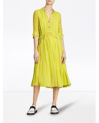 Burberry - Yellow Gathered Georgette Dress - Lyst