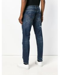 Dondup Blue Distressed Slim-fit Jeans for men