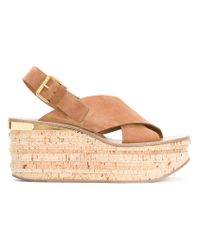 Chloé - Tan Brown Camille Wedges - Lyst