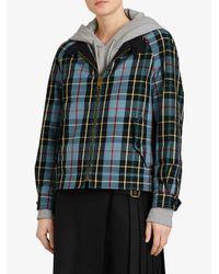 Burberry - Blue Tartan Cotton Gabardine Jacket - Lyst