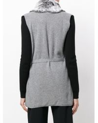 N.Peal Cashmere Gray Fur Placket Milano Cashmere Gilet