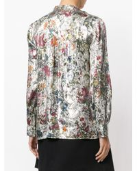Tory Burch | White Printed V Neck Blouse | Lyst