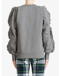 Burberry - Gray Ruffle Detail Sweatshirt - Lyst