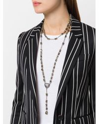Givenchy - Metallic Faceted Stone Rosary Necklace - Lyst