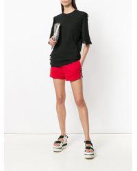 MSGM - Black Lace Trim T-shirt - Lyst