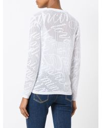 KENZO - White Lace Hole Jumper - Lyst