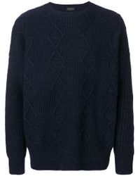 Roberto Collina - Blue Textured Pattern Jumper for Men - Lyst