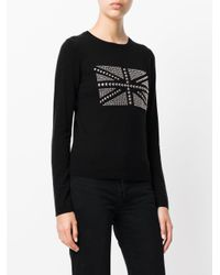 Twin Set - Black Studded Flag Detail Top - Lyst