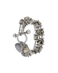 Givenchy - Metallic Heart Charm Beaded Bracelet - Lyst