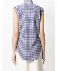 Thom Browne - Blue Sleeveless Striped Checkered Shirt - Lyst