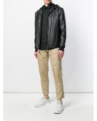 Les Hommes - Black Hooded Biker Jacket for Men - Lyst