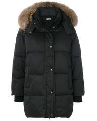 P.A.R.O.S.H. - Black Fur Hood Puffa Coat - Lyst
