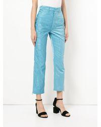 MARINE SERRE Blue Moire Trousers