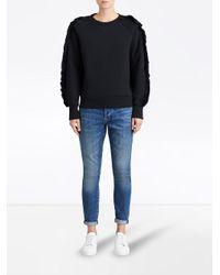 Burberry - Black Ruffled-sleeve Sweatshirt - Lyst