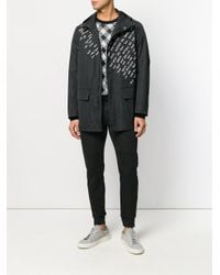Fendi - Black Embroidered Motif Raincoat for Men - Lyst