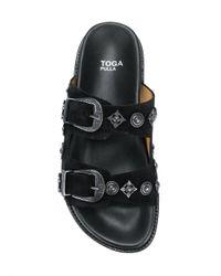 Toga Pulla Black Buckle Strap Sandals