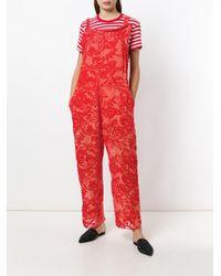 Ter Et Bantine - Red Sleeveless Devore Jumpsuit - Lyst